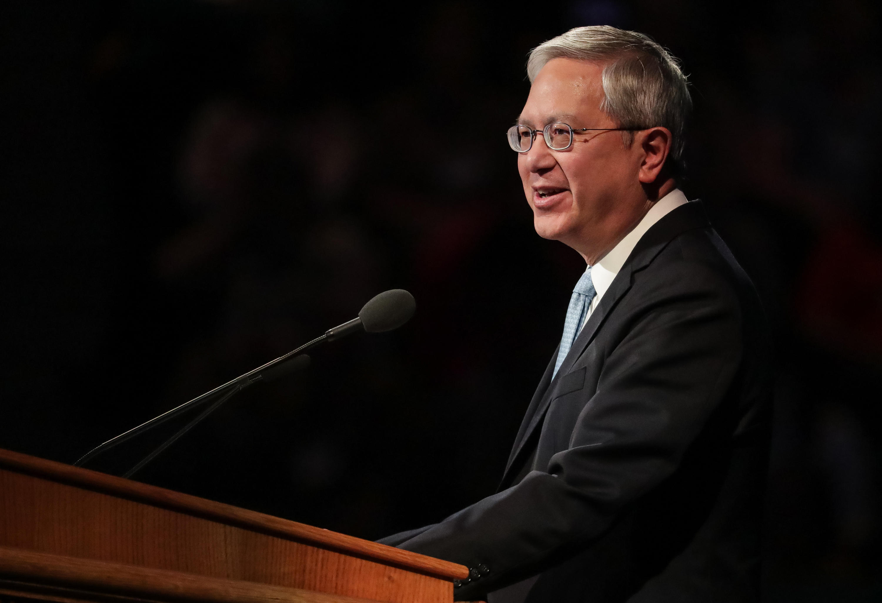 Elder Gerrit W. Gong, of the Quorum of the Twelve Apostles of the LDS Church, speaks at the BYU Women's Conference at the Marriott Center in Provo on Friday, May 4, 2018.