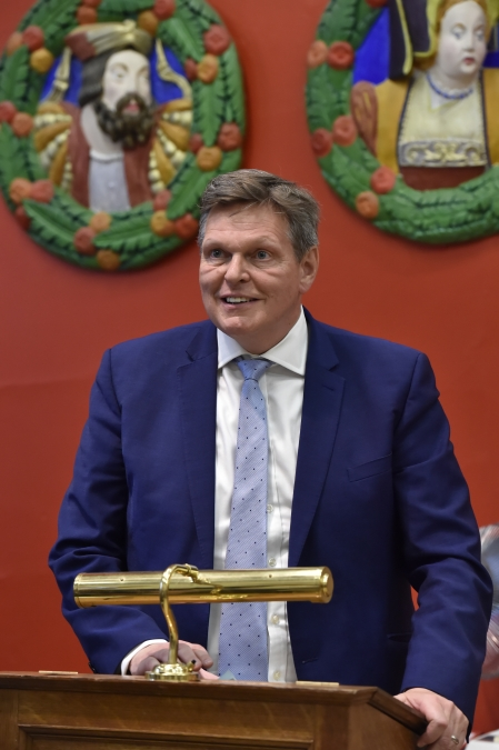 Stephen Kerr MP speaks at the Stirling Smith Art Gallery and Museum in Stirling, Scotland, on July 5, 2018.