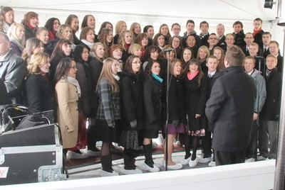 A choir of young single adults performs at the outdoor ceremony for the sealing of the Calgary Alberta Temple's cornerstone. President Thomas S. Monson presided over the temple's dedication on Sunday, Oct. 28.