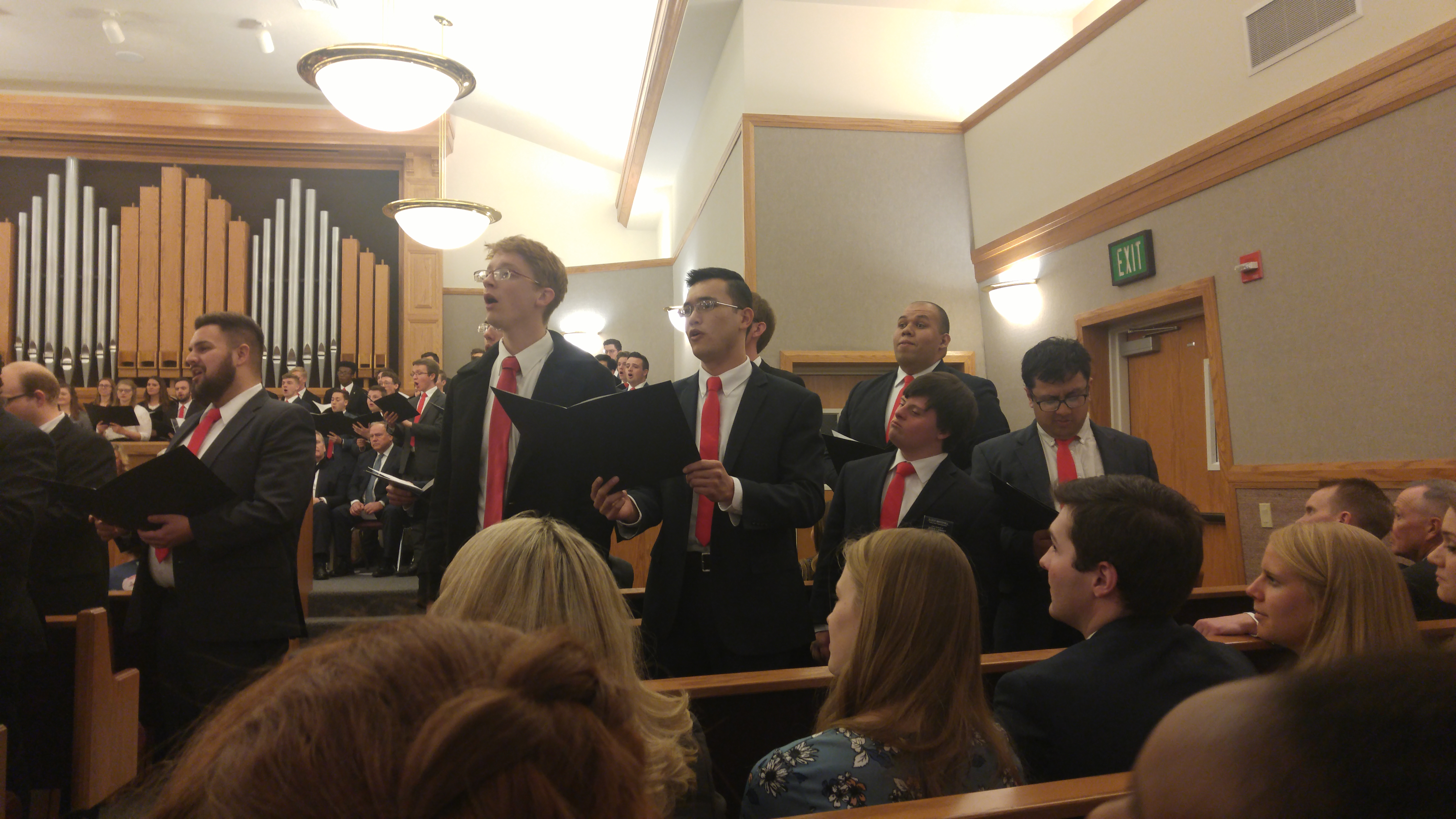 Salt Lake Institute Singers perform during a devotional held on Sunday, Feb. 10, 2019.