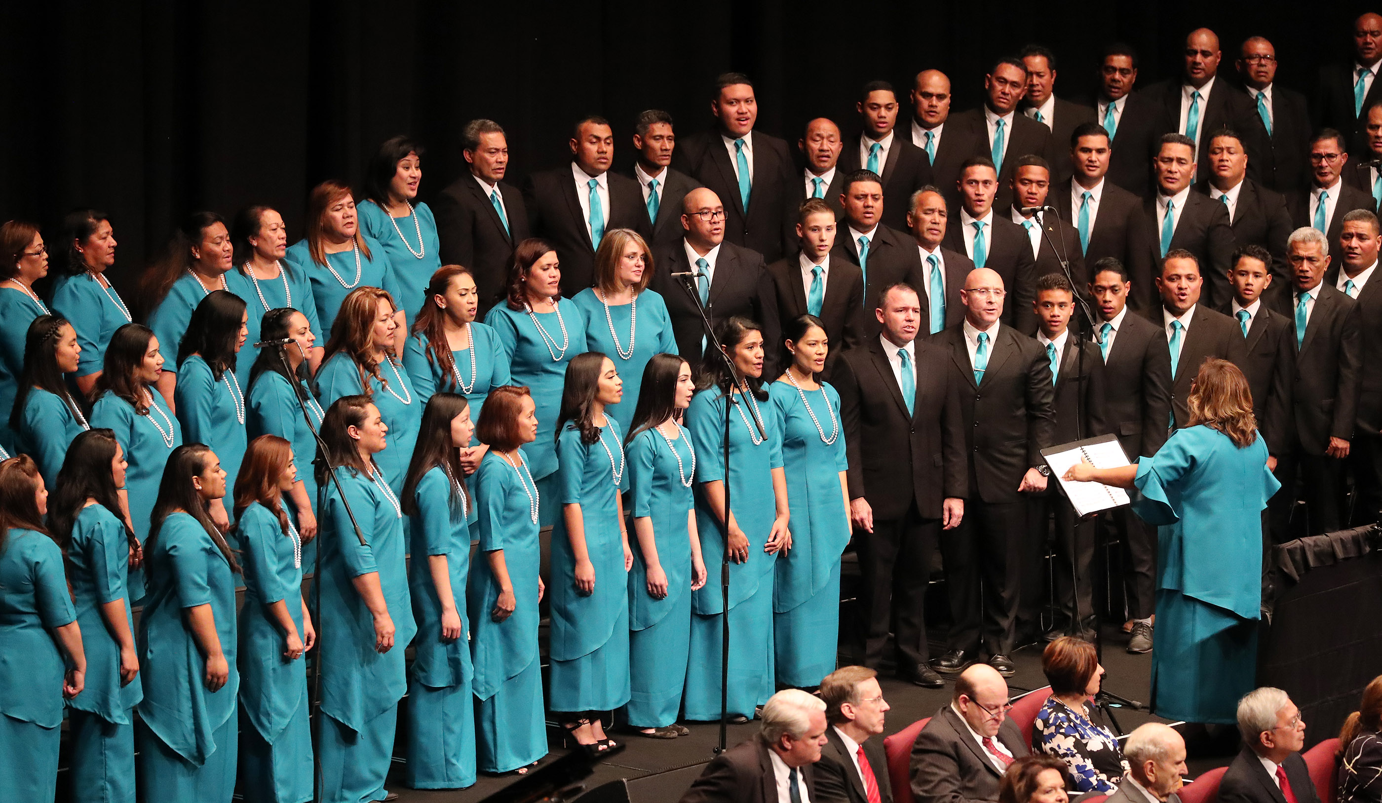 A choir sings at the International Conference Center on May 19, 2019, in Sydney, Australia.