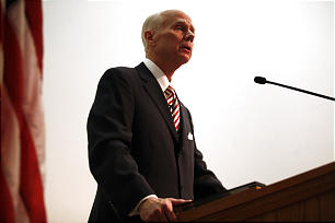 Elder Lance B. Wickman, First Quorum of the Seventy, gives his keynote speech during Saints at War, a special conference honoring LDS veterans and their families, at the BYU Conference Center in Provo on Friday, Nov. 11, 2011.