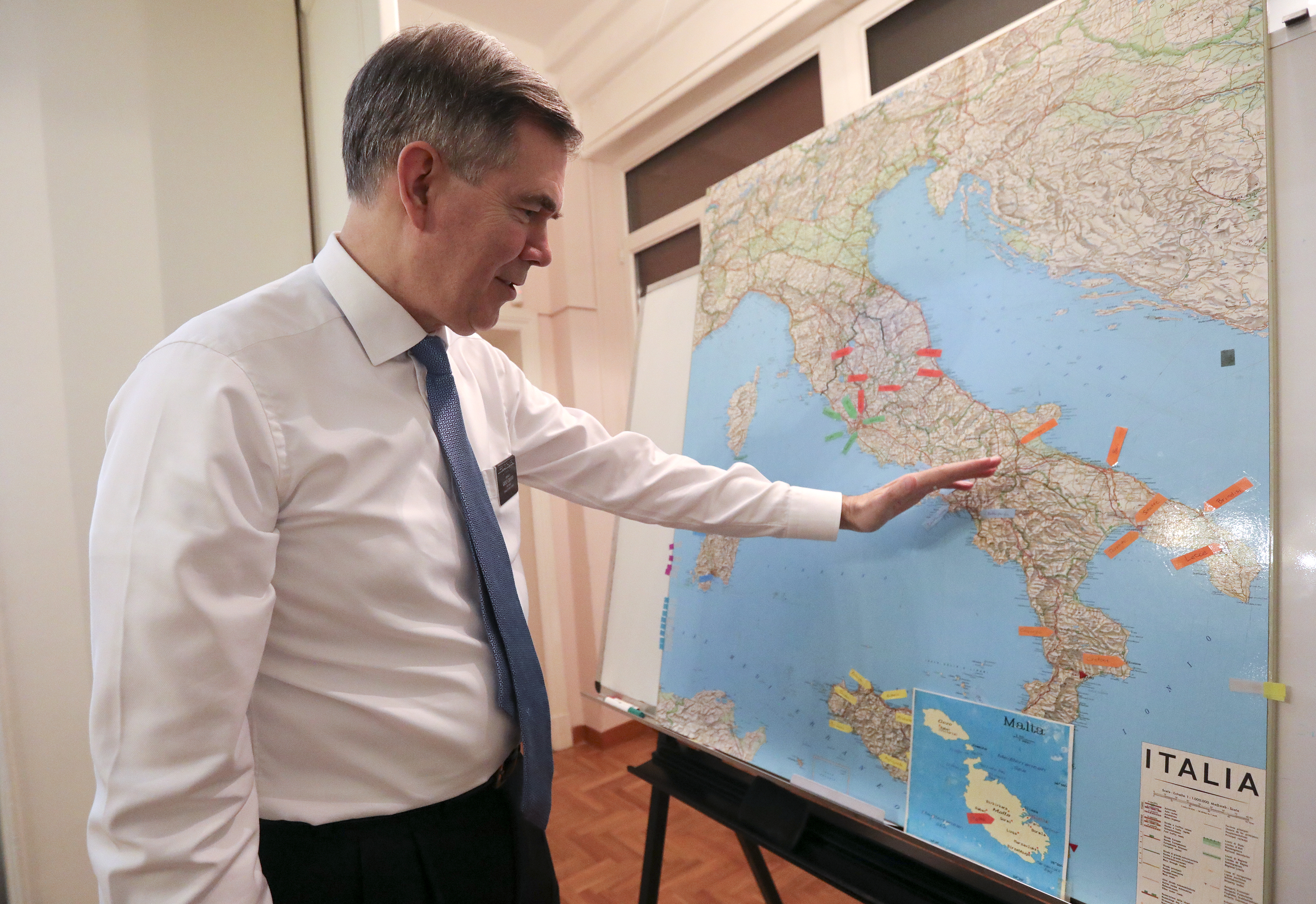 President Michael D. Pickerd, of the Italy Rome Mission, talks about missionary activity in Italy at the mission home in Rome, Italy, on Friday, Nov. 16, 2018.