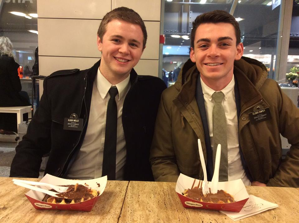 Elder Mason Wells, left, and Elder Joseph Dresden Empey, had been serving together as companions for five weeks in Brussels, a part of the France Paris Mission, before they were injured in a terrorist attack at the Brussels Airport on Tuesday, March 22, 2016.