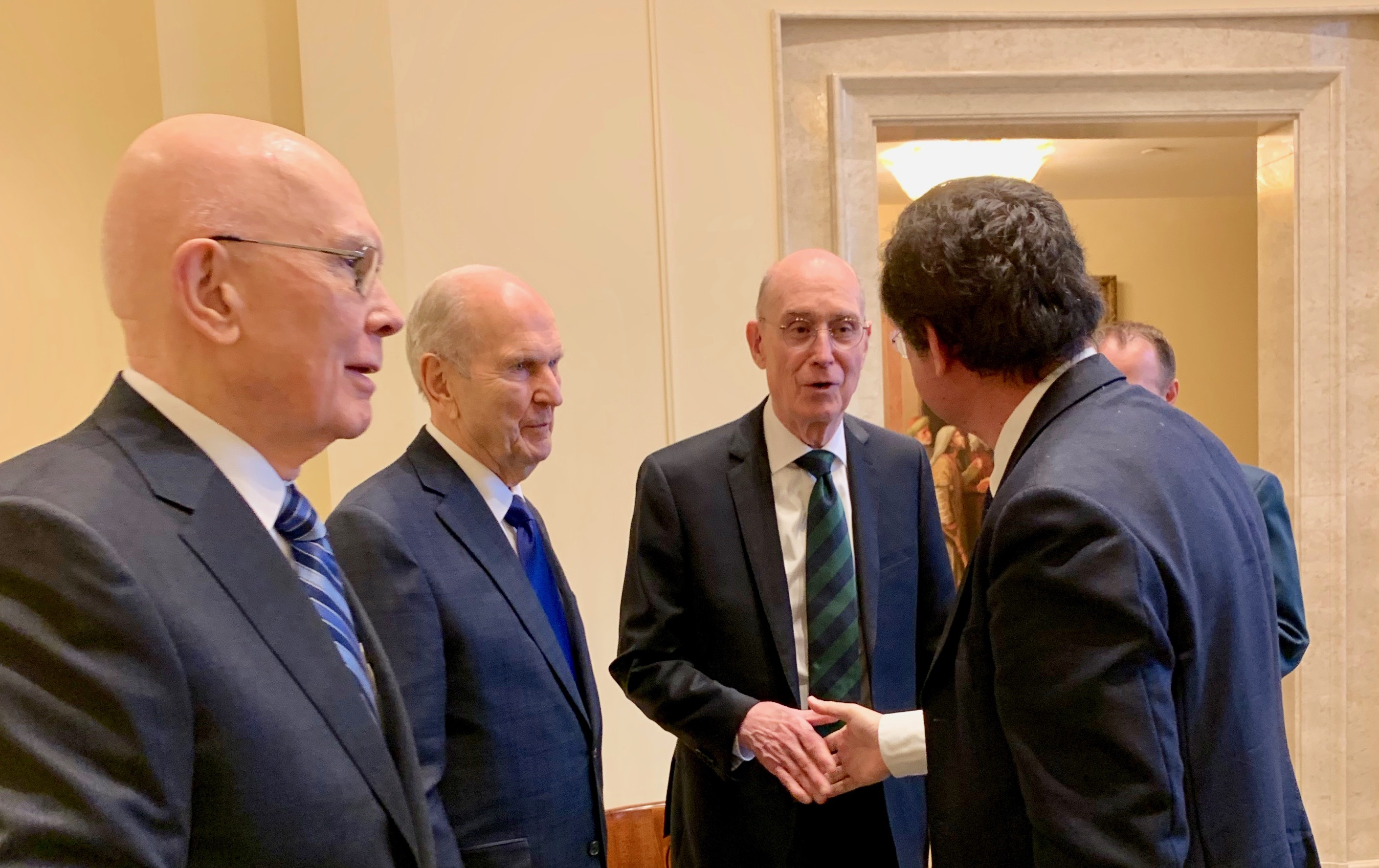 President Dallin H. Oaks, President Russell M. Nelson and President Henry B. Eyring shake hands with La Stampa correspondent Paolo Mastrolilli after the reporter interviewed the First Presidency of The Church of Jesus Christ of Latter-day Saints in the Rome Italy Temple on Monday, March 11, 2019.