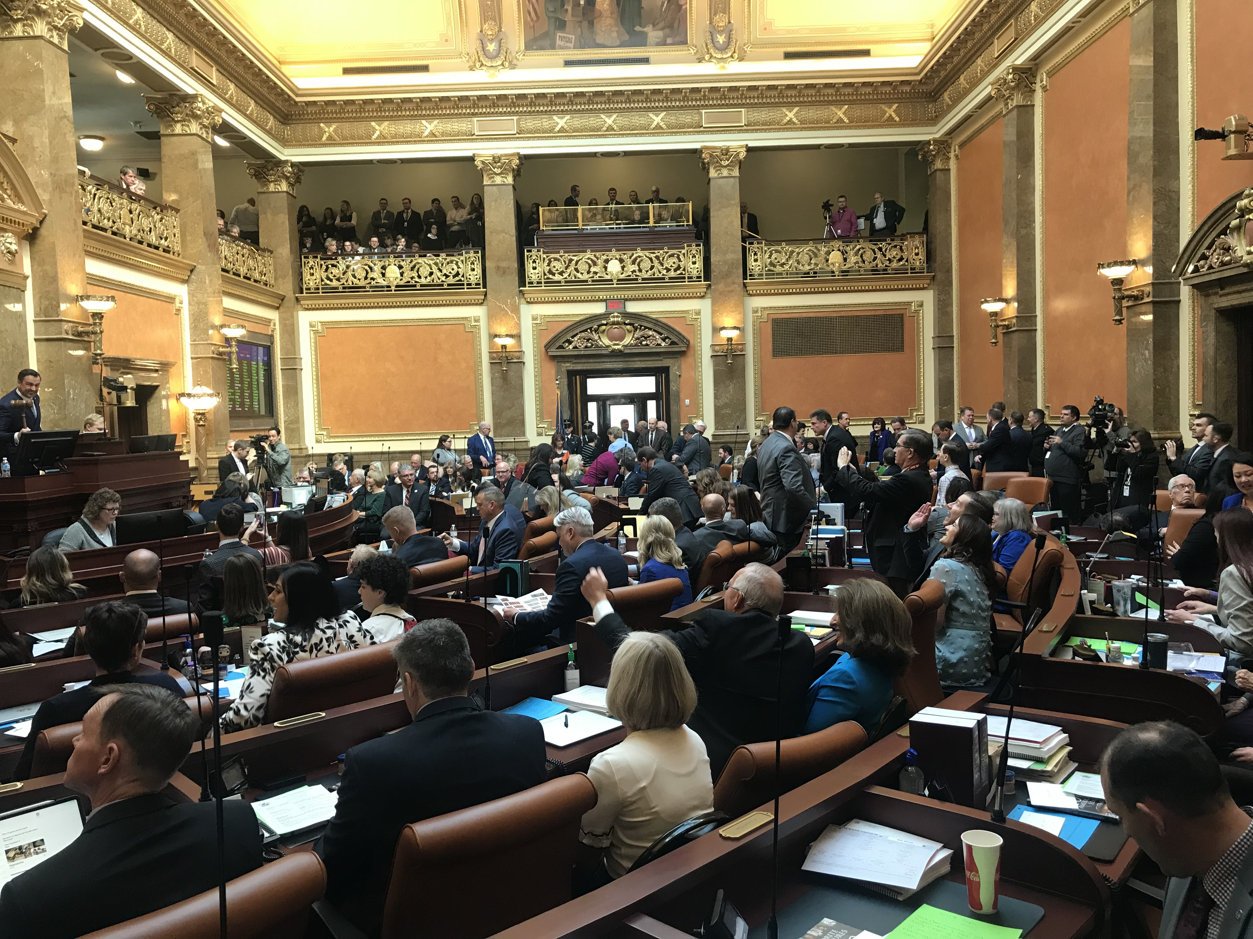 The Utah House of Representatives, as seen on Monday, Jan. 28, 2019, the start of the 2019 legislative session. President M. Russell Ballard, Acting President of the Quorum of the Twelve Apostles, offered the innovation in the House, and Elder Jack N. Gerard, a General Authority Seventy, in the Utah Senate on the same day.