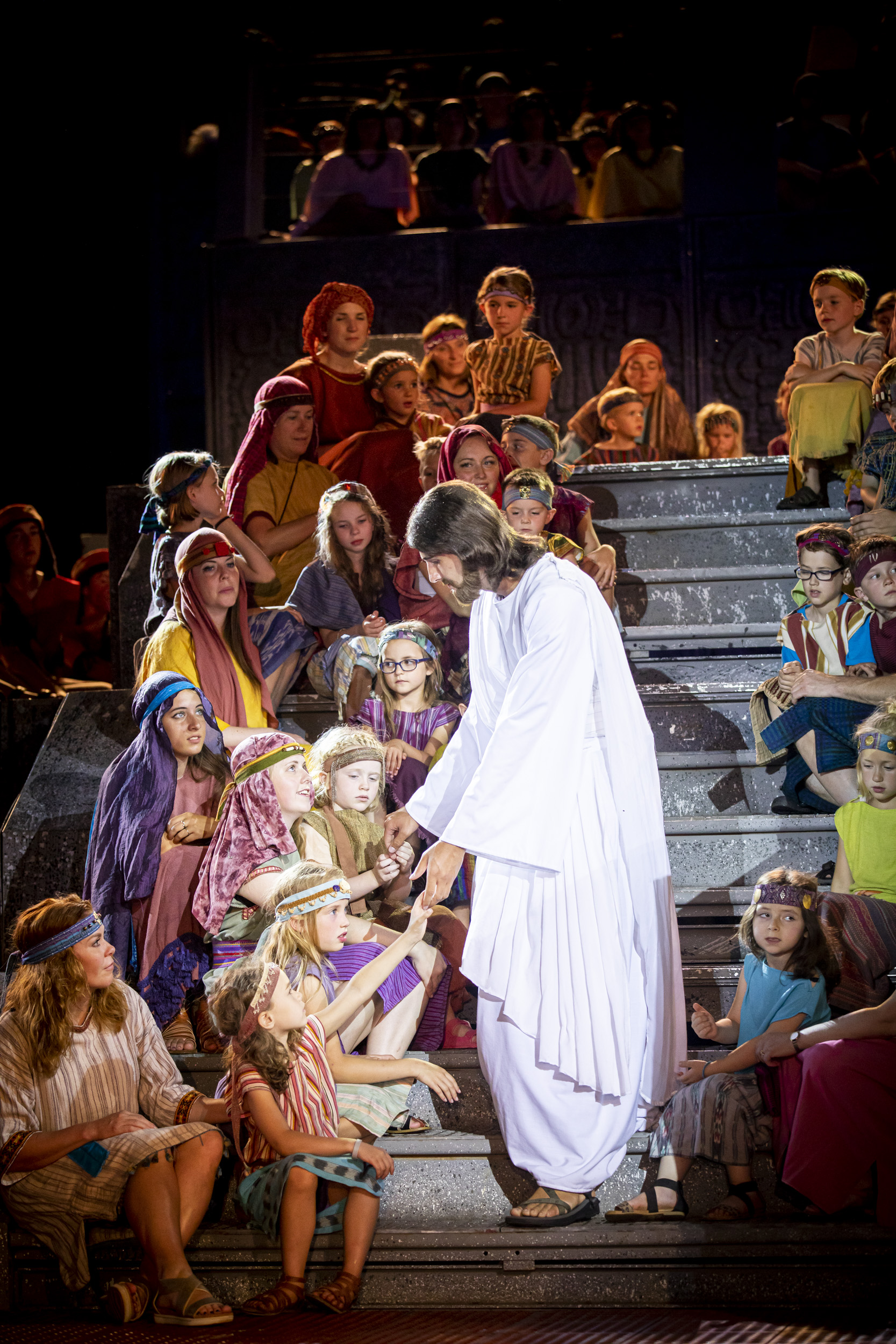 A scene from the Hill Cumorah Pageant depicts the Savior visiting the Americas. The pageant ran July 11-13 and 16-20, 2019, on the hillside next to the Hill Cumorah Visitors' Center in Manchester, New York.