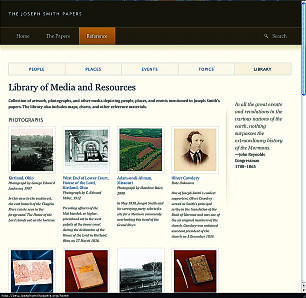 """Library of Media and Resources in """"Reference"""" section of new website contains maps, photos and other pictures, such as a portrait of Oliver Cowdery."""