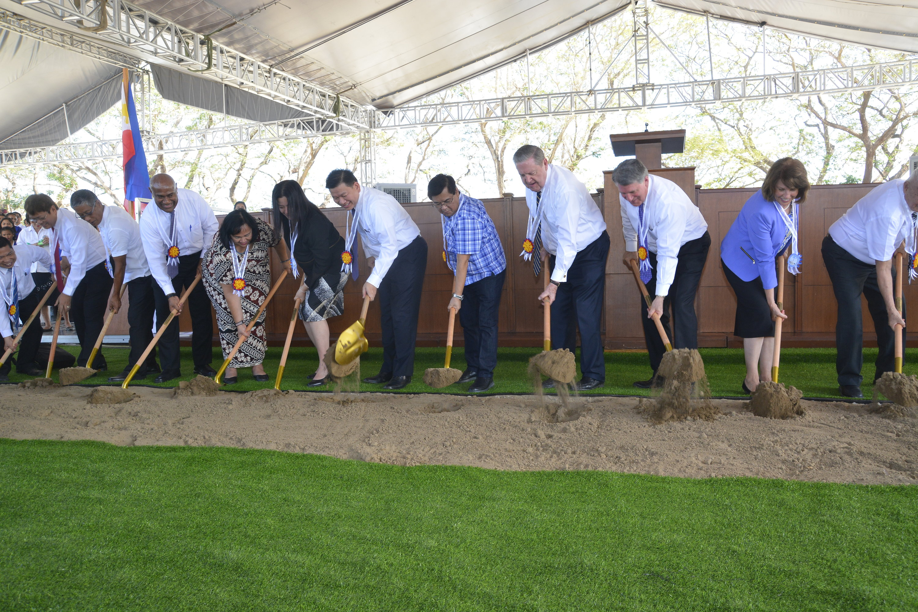 Senior Church leaders joined community leaders in Urdaneta, Pangasinan, Philippines, on Wednesday Jan. 16, 2019, to break ground for a new temple in the Philippines.