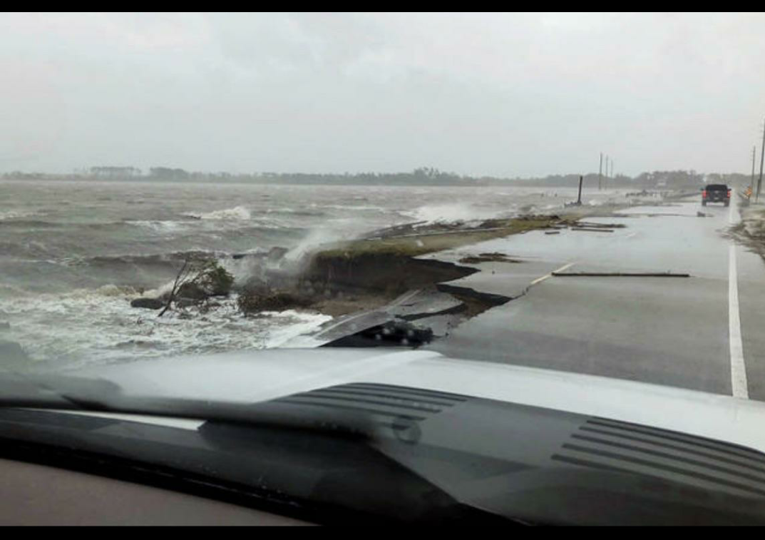 Hurricane Florence damaged the road connecting Harkers Island to the North Carolina mainland, as seen on Sunday, Sept. 16, 2018.