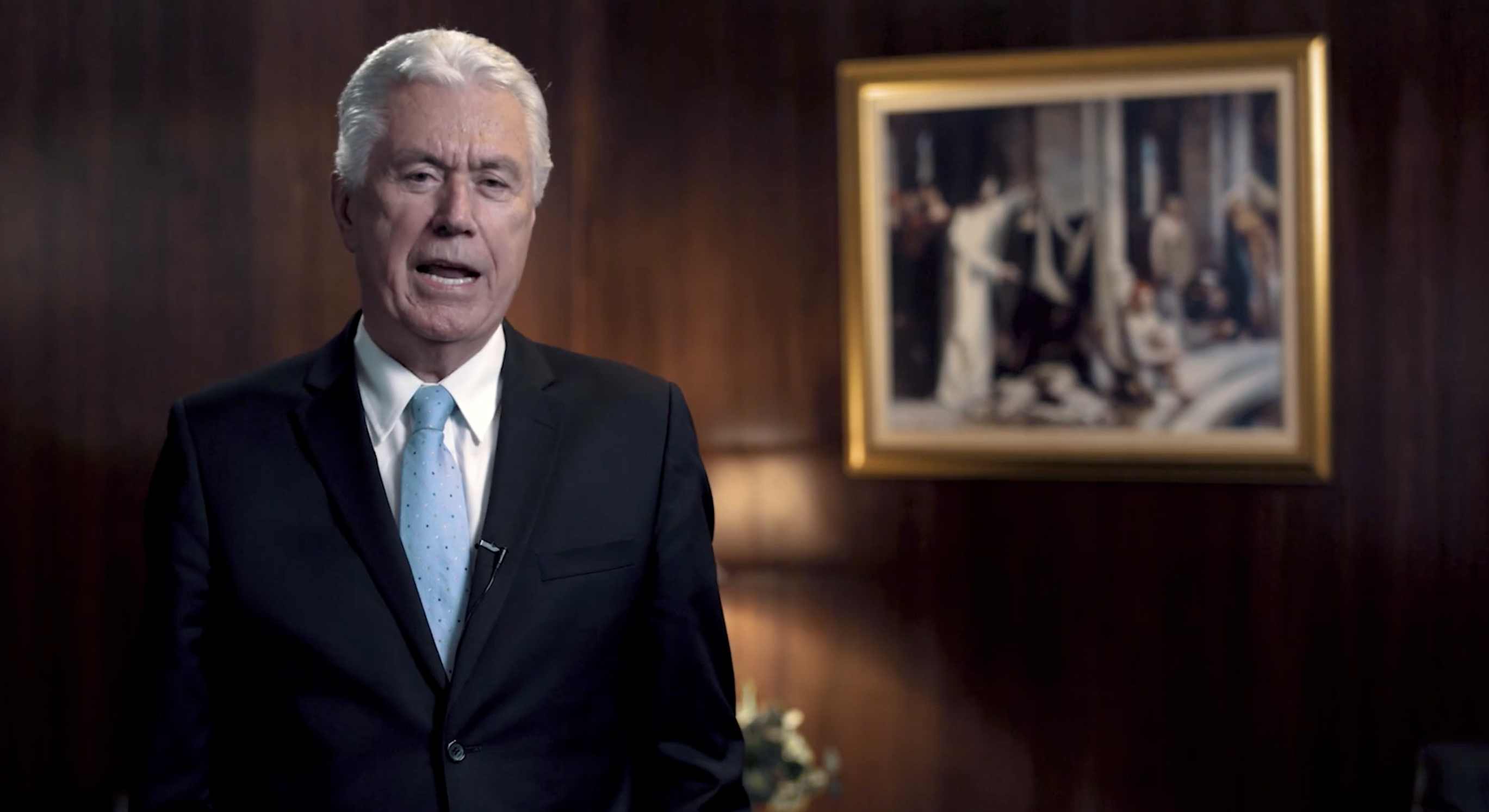 """Screen capture of Elder Dieter F. Uchtdorf of the Quorum of the Twelve Apostles from the BYU-Pathway Worldwide video launching the """"come and see"""" initiative."""