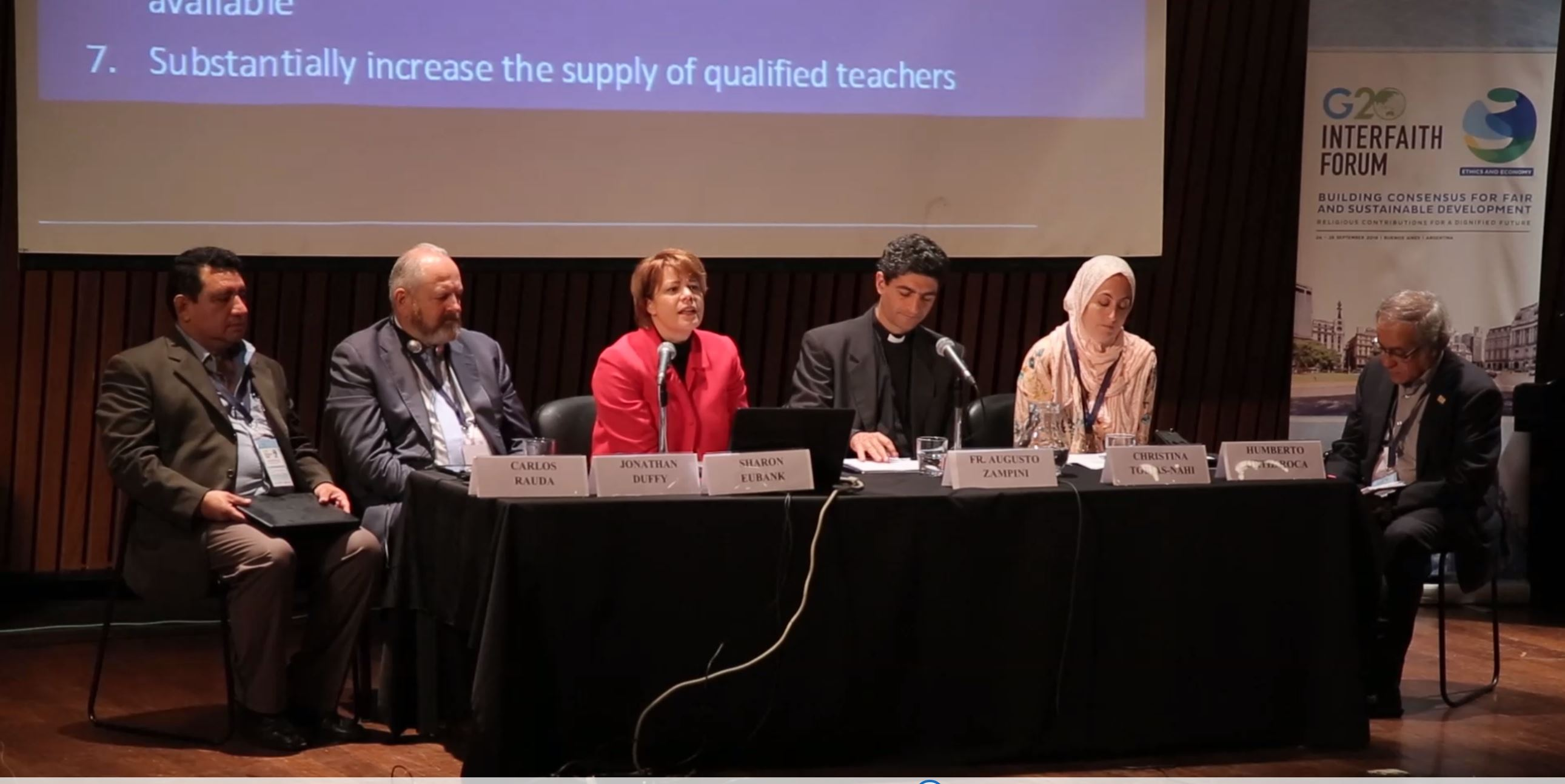 Sister Sharon Eubank, director of LDS Charities and first counselor in the Church's Relief Society general presidency participates in a panel discussion at the G20 Interfaith Forum in Buenos Aires, Argentina, Thursday, Sept. 27, 2018.