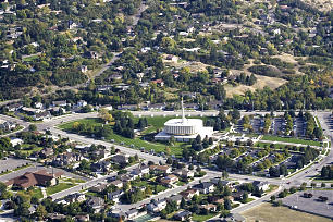 Aerial view shows setting of the Provo Utah Temple at the entrance of Rock Canyon. With the temple completed in 1972, a prophecy by Brigham Young of a temple on a hill overlooking Provo was fulfilled.