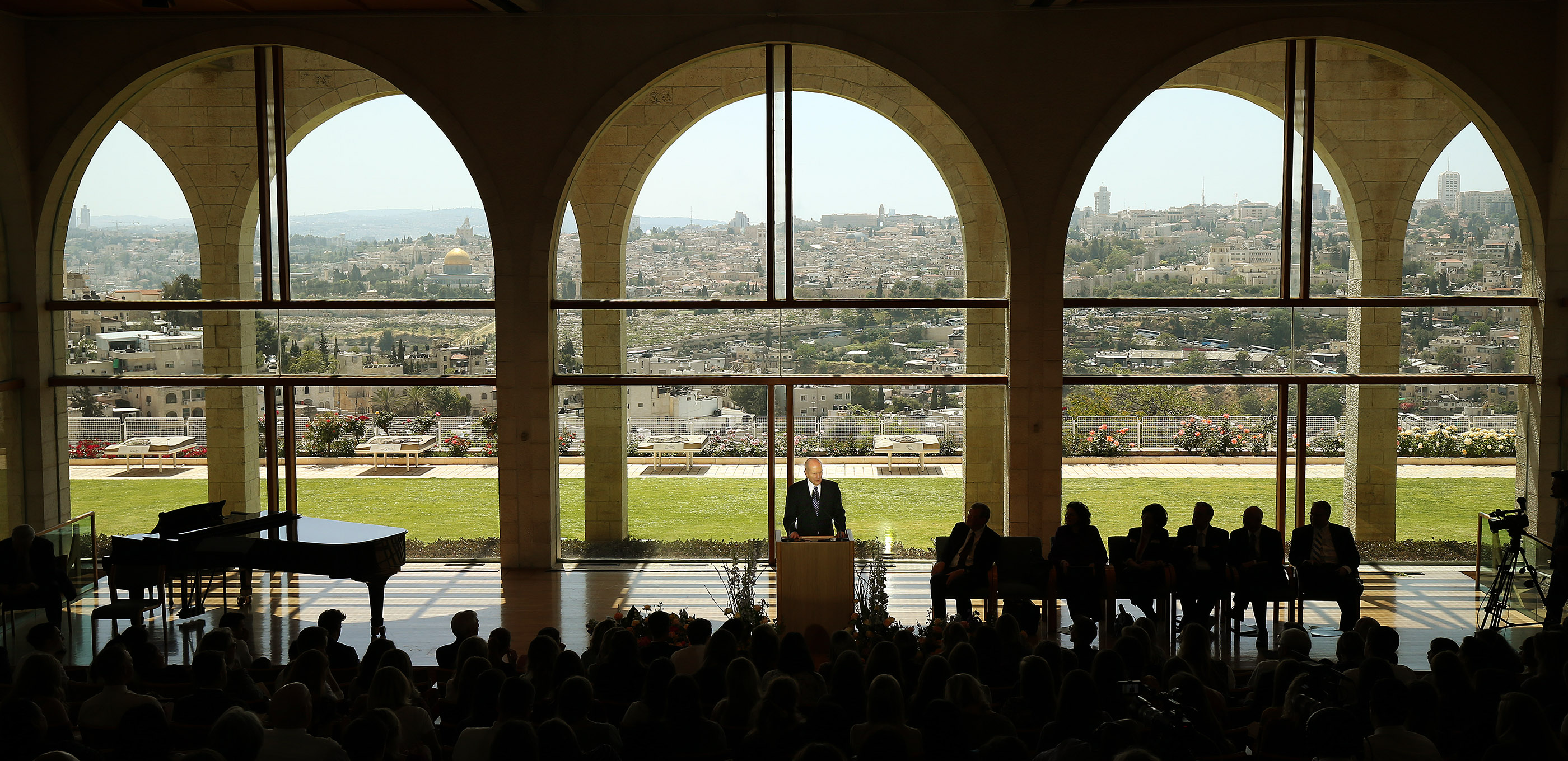 President Russell M. Nelson, president of The Church of Jesus Christ of Latter-day Saints, speaks during Jerusalem District Conference at the BYU Jerusalem Center in Jerusalem on Saturday, April 14, 2018.