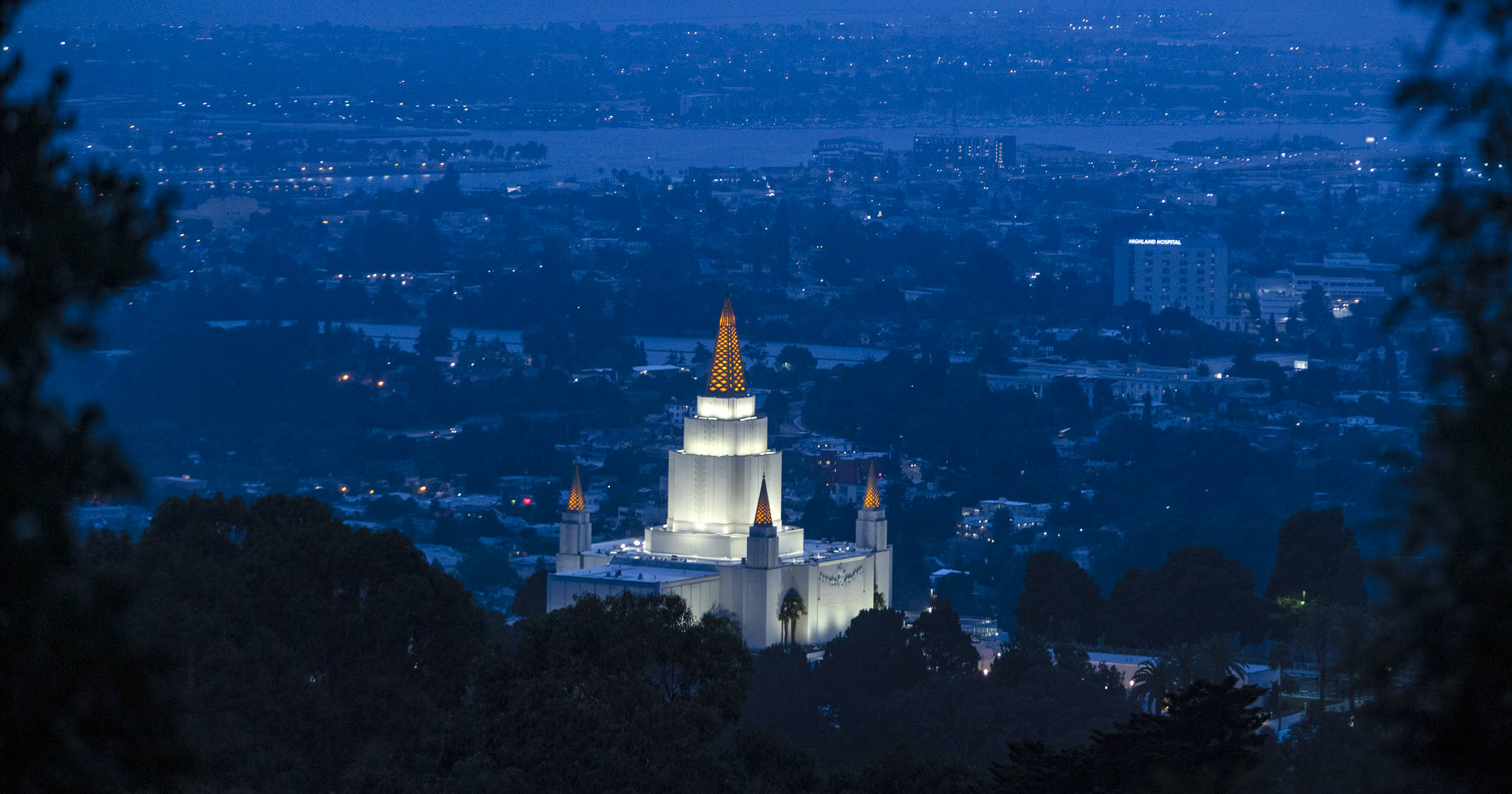 The Oakland California Temple is illuminated at dusk on Friday, June 14, 2019.