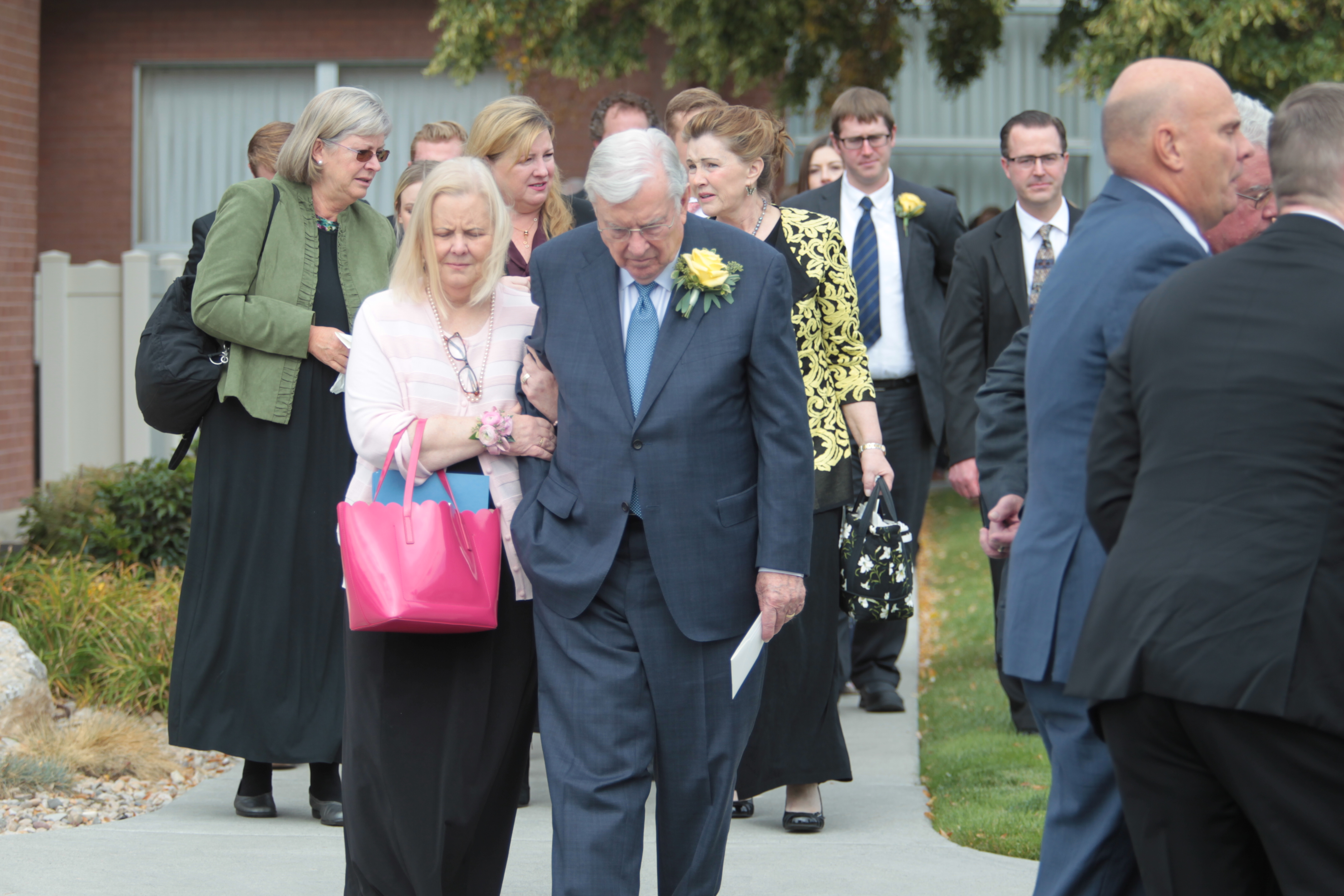 President M. Russell Ballard, acting president of the Quorum of the Twelve Apostles of The Church of Jesus Christ of Latter-day Saints, exits the meetinghouse where the funeral for his wife, Sister Barbara Ballard, was held, October 8, 2018.