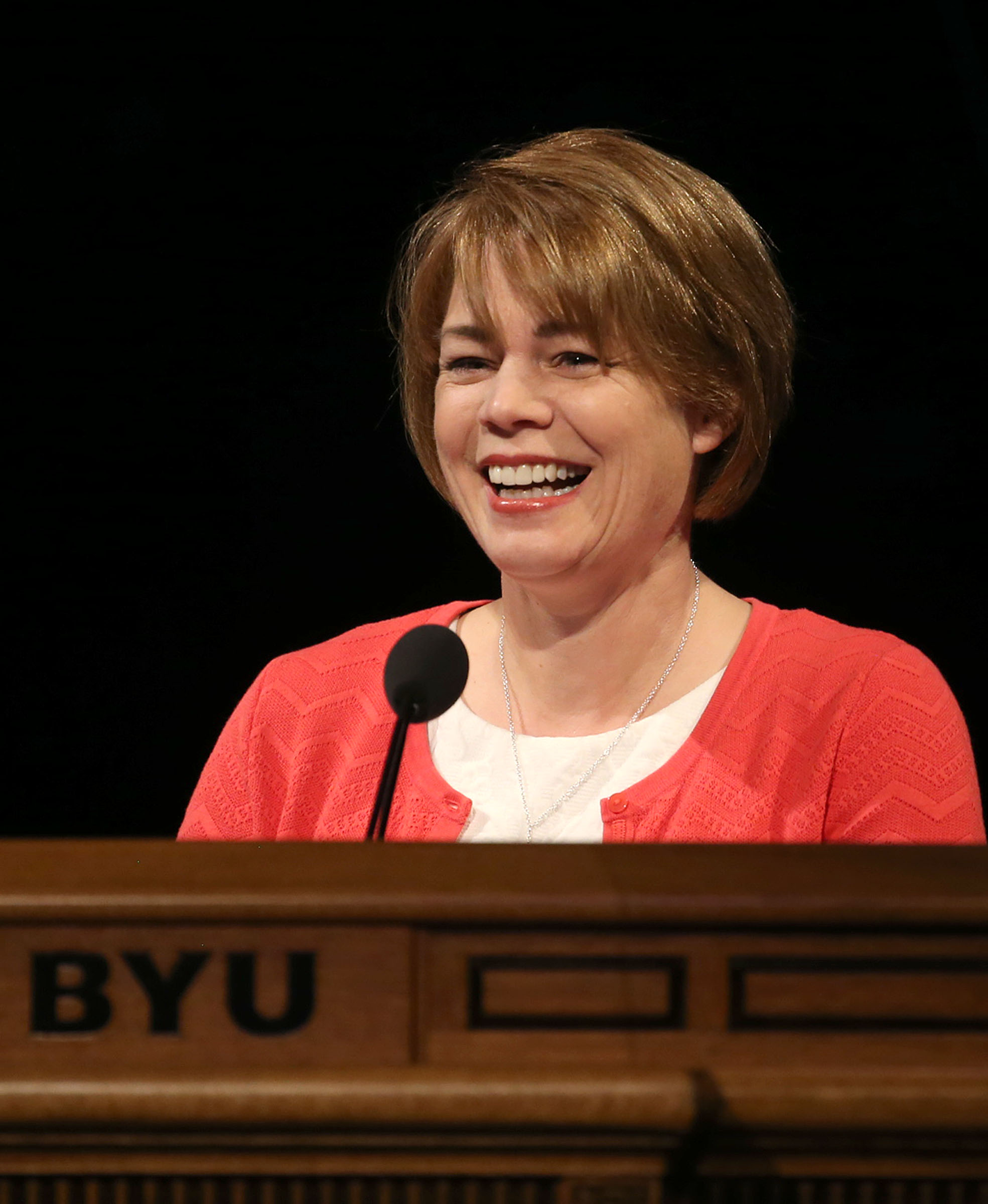 Sharon Eubank, Relief Society Presidency First Counselor, speaks at the BYU Women's Conference in the Marriott Center at BYU in Provo on Friday, May 5, 2017.