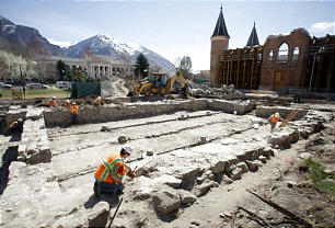 Excavation at the Provo City Center Temple revealed an older Provo Tabernacle built in the late 1800s.