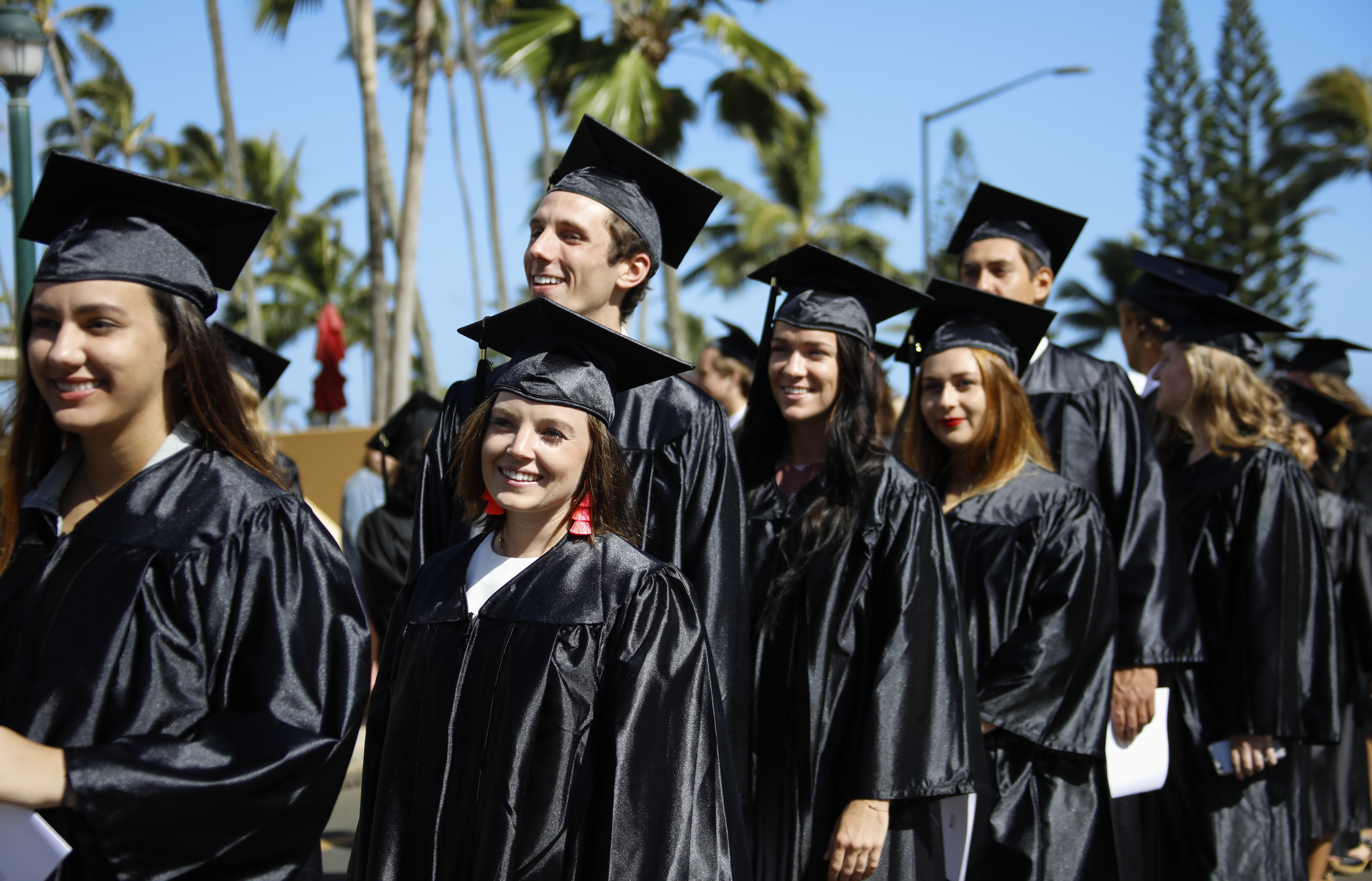 Students at BYU-Hawaii line up outside before the winter commencement ceremony on April 20, 2019.