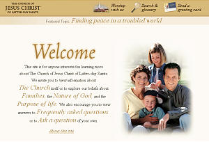 Homepage of new Church Web site that allows investigators to choose from five major categories of the Church.