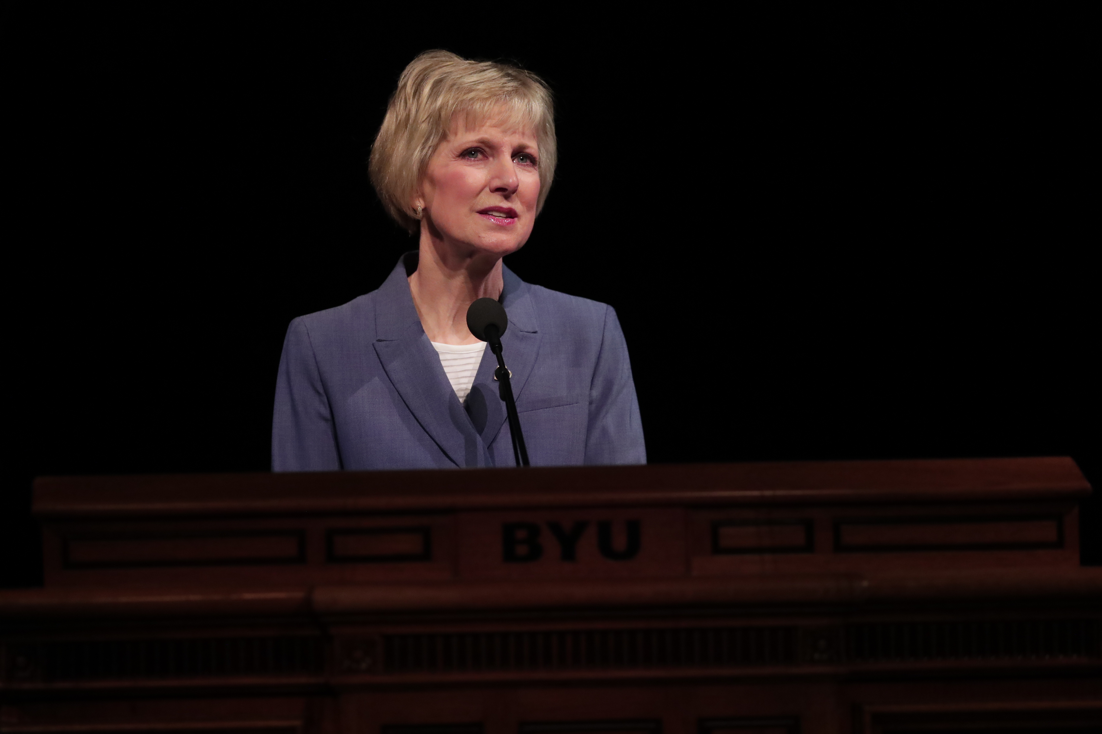 Sister Jean B. Bingham, Relief Society general president, speaks during a session of the BYU Women's Conference at the Marriott Center on May 2, 2019.