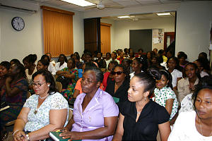 Jamaica sisters attend a Relief Society meeting held in conjunction with the Jamaica conference weekend.