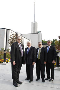 With President Thomas S. Monson, left, at the dedication of the Atlanta Georgia Temple are Elder M. Russell Ballard of the Quorum of the Twelve, Elder Walter F. González of the Presidency of the Seventy, and Elder M. Keith Giddens, an Area Seventy.