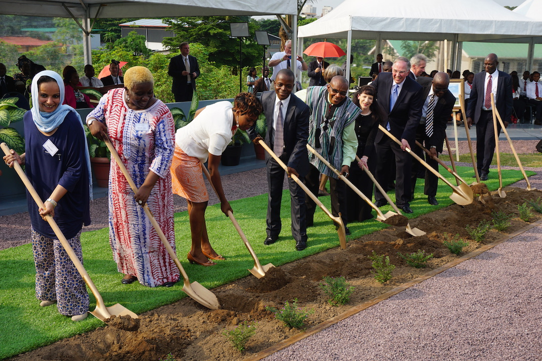 Elder Neil L. Andersen of the Church's Quorum of the Twelve Apostles, his wife, Kathy and local Church and community leaders break ground for the Kinshasa Democratic Republic of the Congo Temple. (Photo: © 2016 Intellectual Reserve, Inc. All rights reserved)