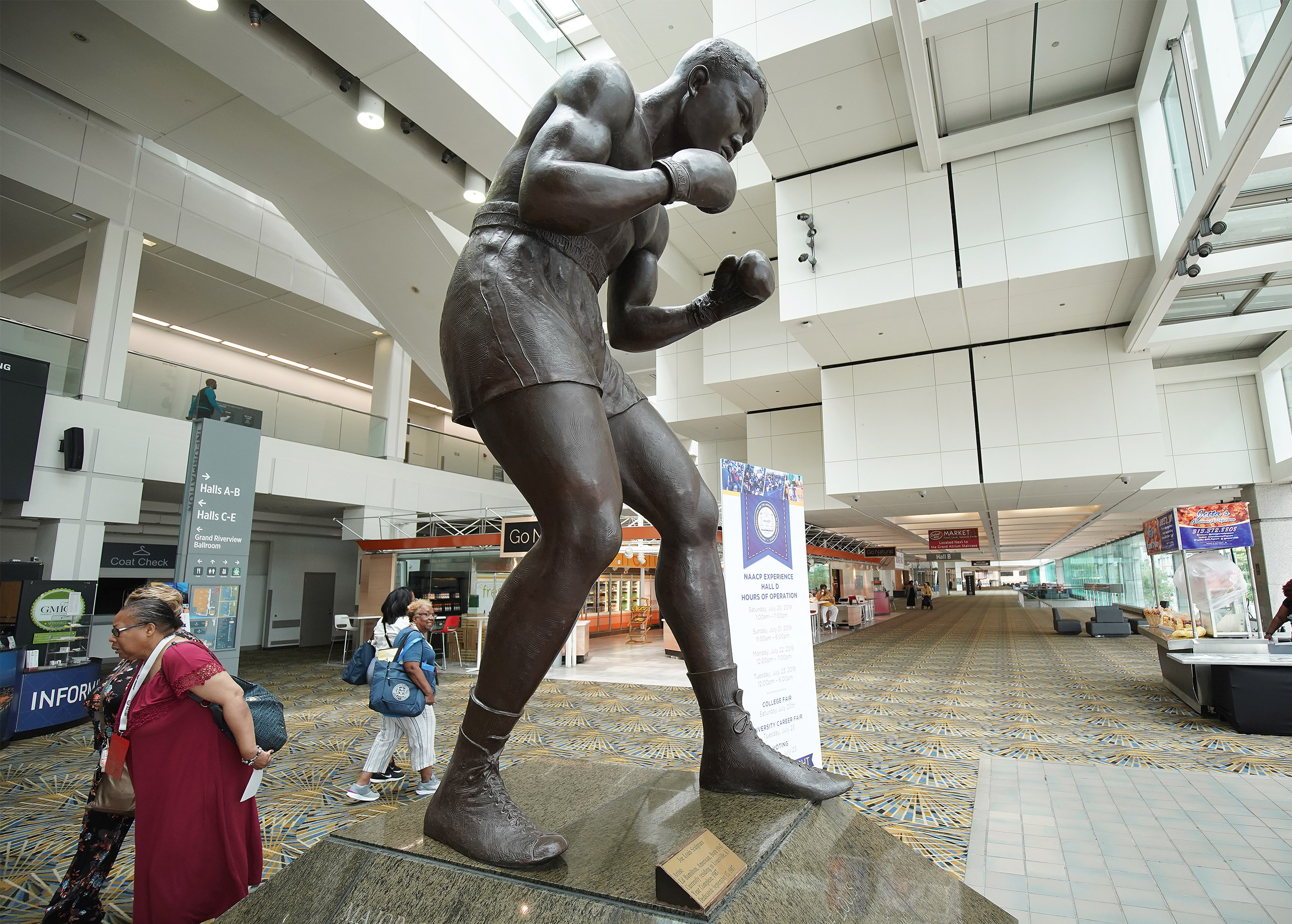 A statue of boxer Joe Louis is displayed at the COBO convention center in Detroit on Sunday, July 21, 2019. The National Association for the Advancement of Colored People is holding their convention at the center.