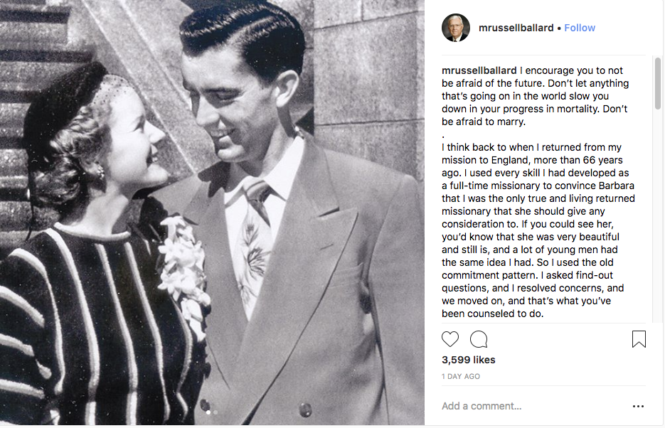 The Instagram account of President M. Russell Ballard shared a photo of a young M. Russell and Barbara Ballard on Aug. 23, 2018.