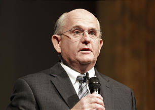 Mack Wilberg, music director of the Mormon Tabernacle Choir, speaks as the choir announces the launch of its new YouTube channel in Salt Lake City, Tuesday, Oct. 30, 2012.