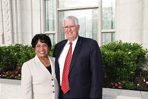 Sister Silvia H. Allred, first counselor in the Relief Society general presidency, is a native Salvadoran and a convert. She and her husband, Jeffrey A. Allred, attend temple dedication.