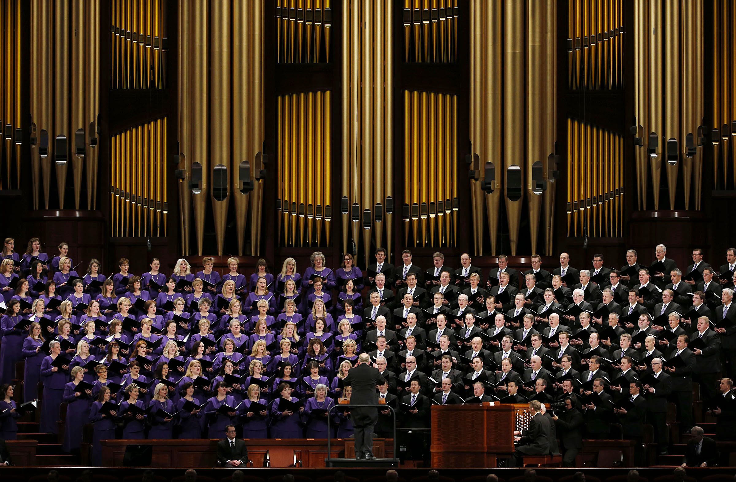 The Tabernacle Choir sings during Church President Thomas S. Monson's funeral at the Conference Center in Salt Lake City on Friday, Jan. 12, 2018.