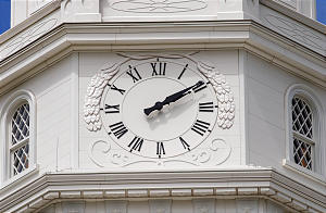 The Clock on the South side of the tower on the Nauvoo Temple. Photo by Scott G. Winterton/Deseret News April 28, 2002.