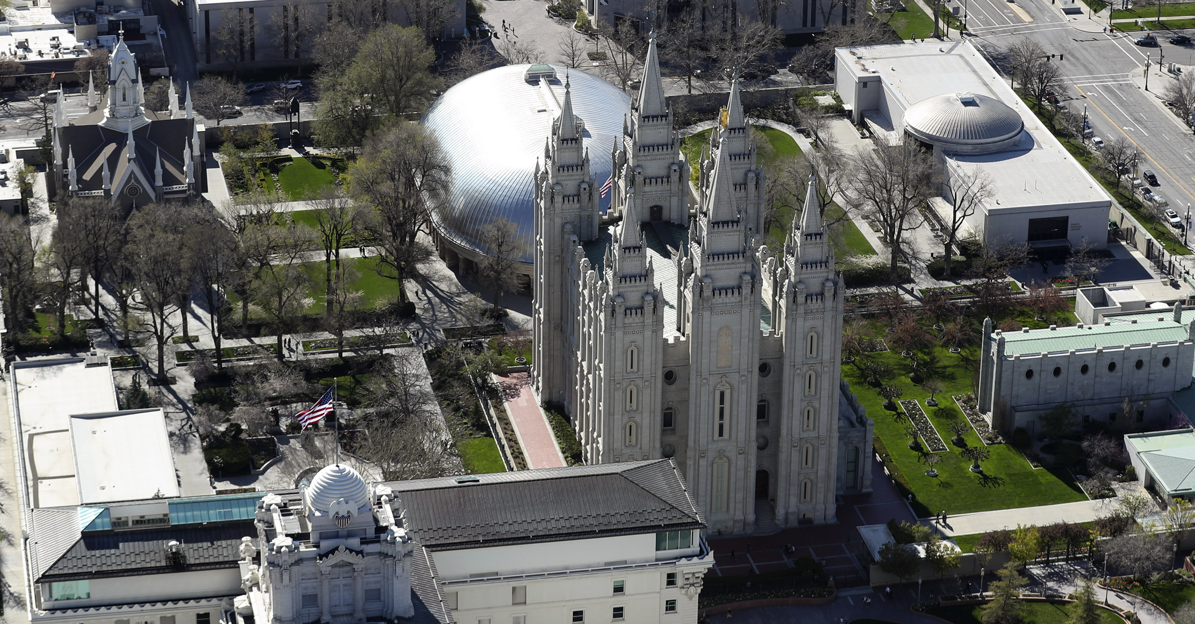 Temple Square y el centro de Salt Lake City son fotografiados el jueves 18 de abril de 2019.
