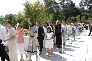 Members line up for the rededication. The temple was originally dedicated in 1983 by President Gordon B. Hinckley.