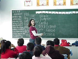 Jessica Greene, then 15, teaches English to Chinese students in Jinan, China, in 2000.
