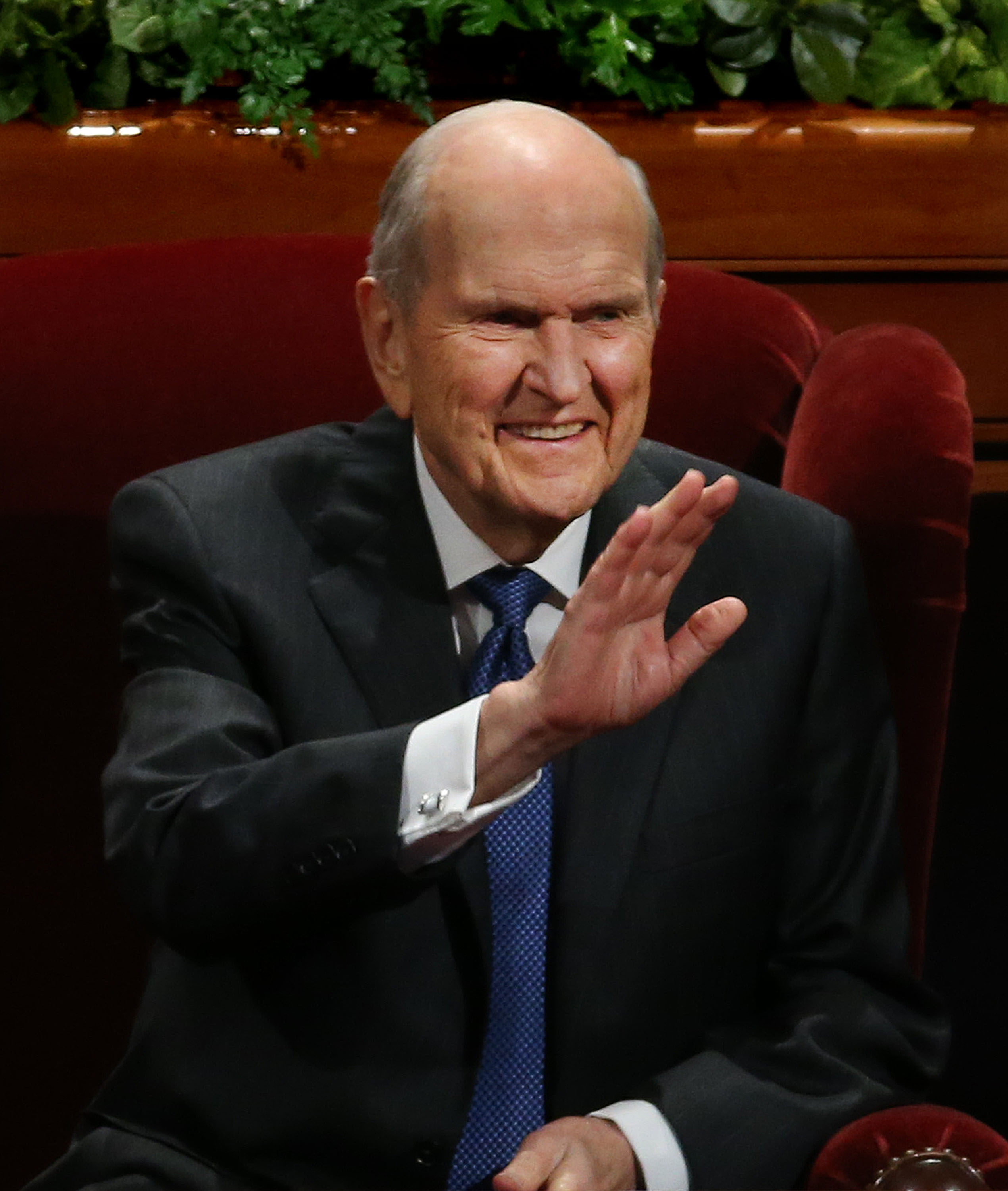 President Russell M. Nelson waves to audience members during the general women's session of the 188th Semiannual General Conference of The Church of Jesus Christ of Latter-day Saints held in the Conference Center in downtown Salt Lake City on Saturday, Oct. 6, 2018.