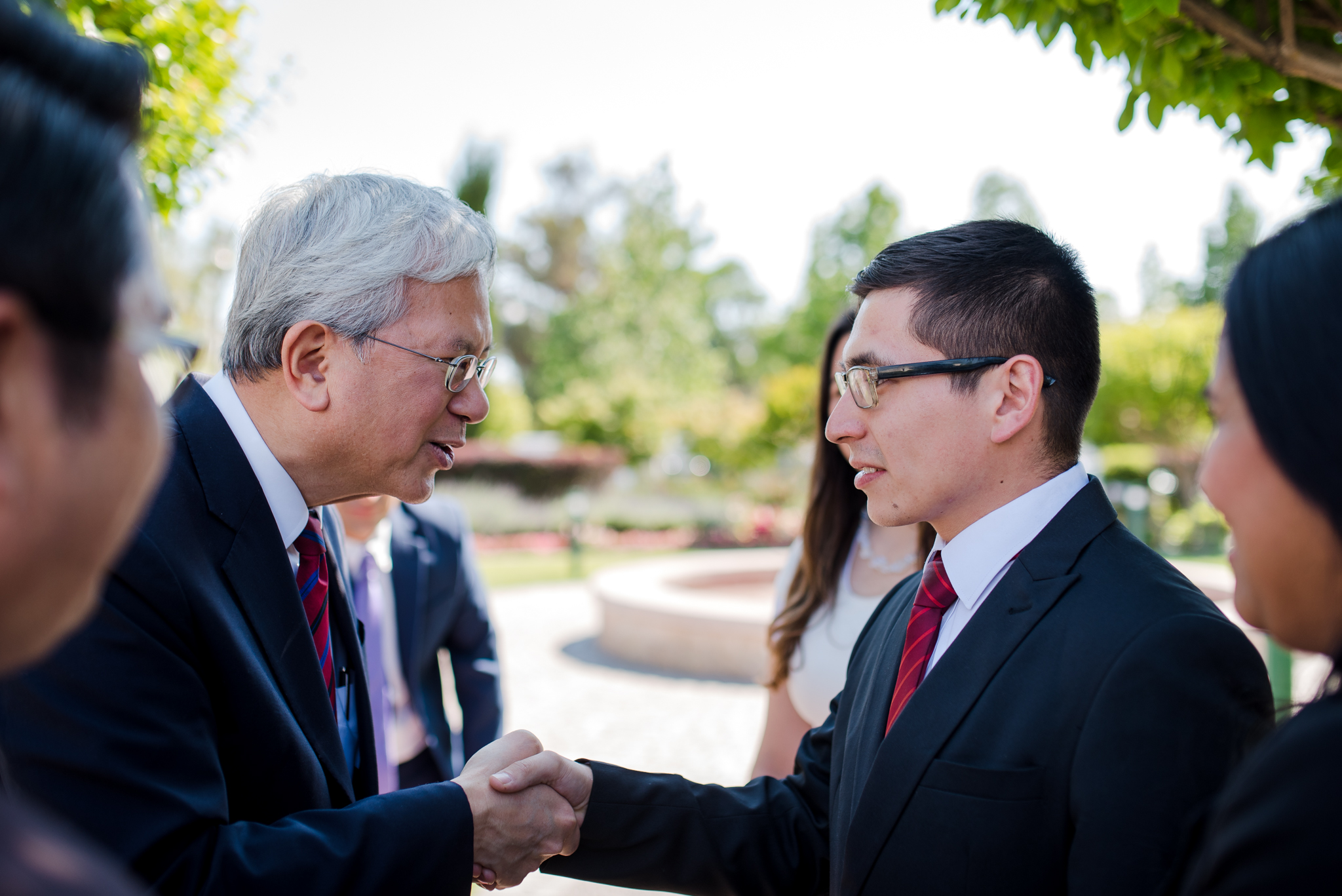 Elder Gong greets missionaries at the Chile Missionary Training Center in Santiago on Nov. 11.