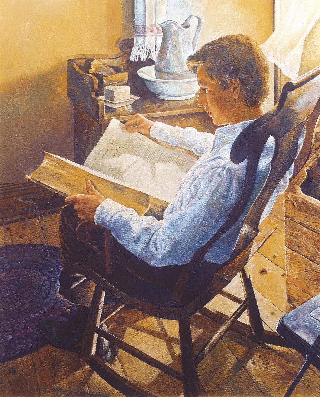 """Joseph Smith Seeks Wisdom from the Bible,"" by artist Dale Kilbourn"