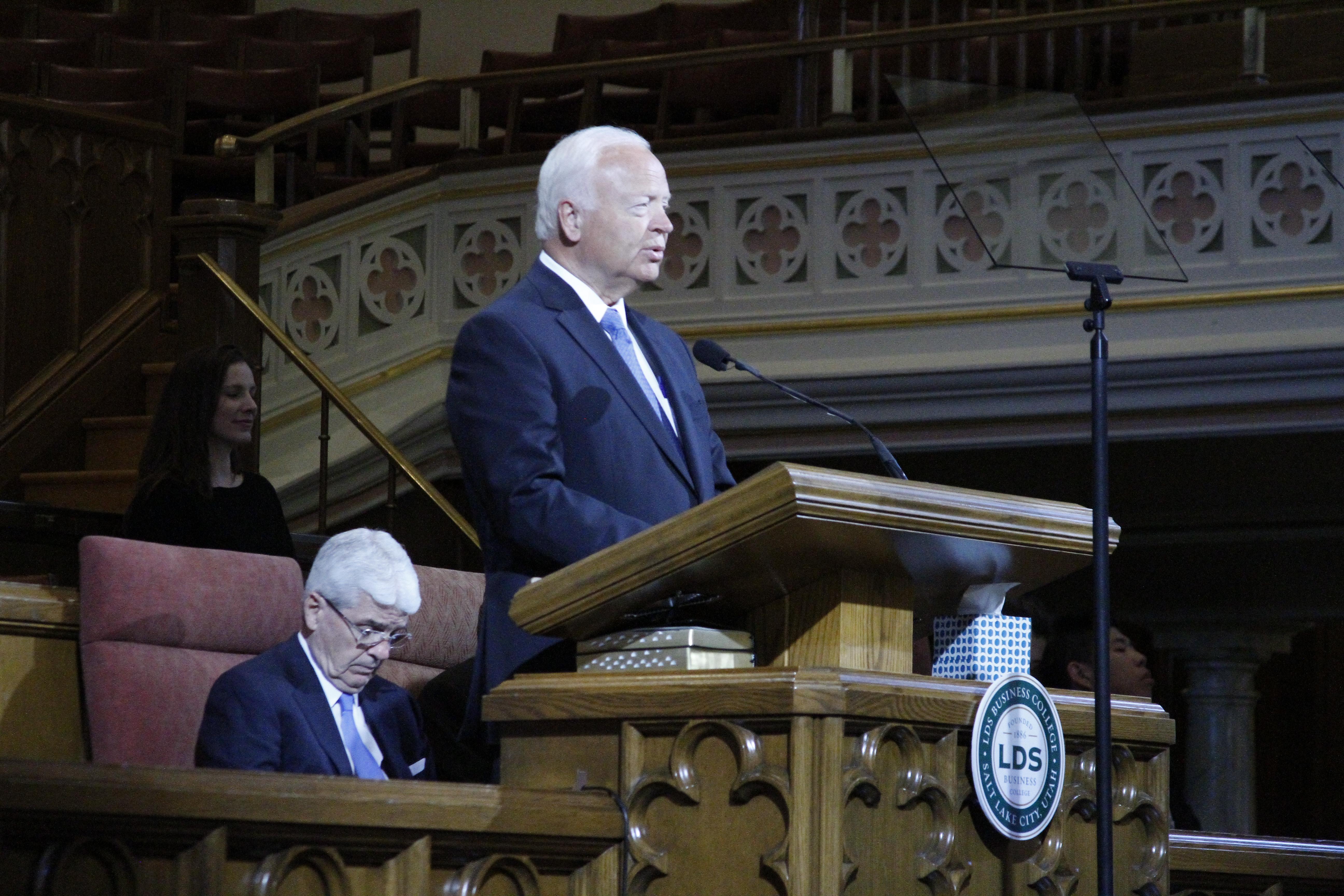 Elder Kent F. Richards, emeritus General Authority Seventy, speaks to LDSBC students in a devotional address on Tuesday, June 11, 2019.