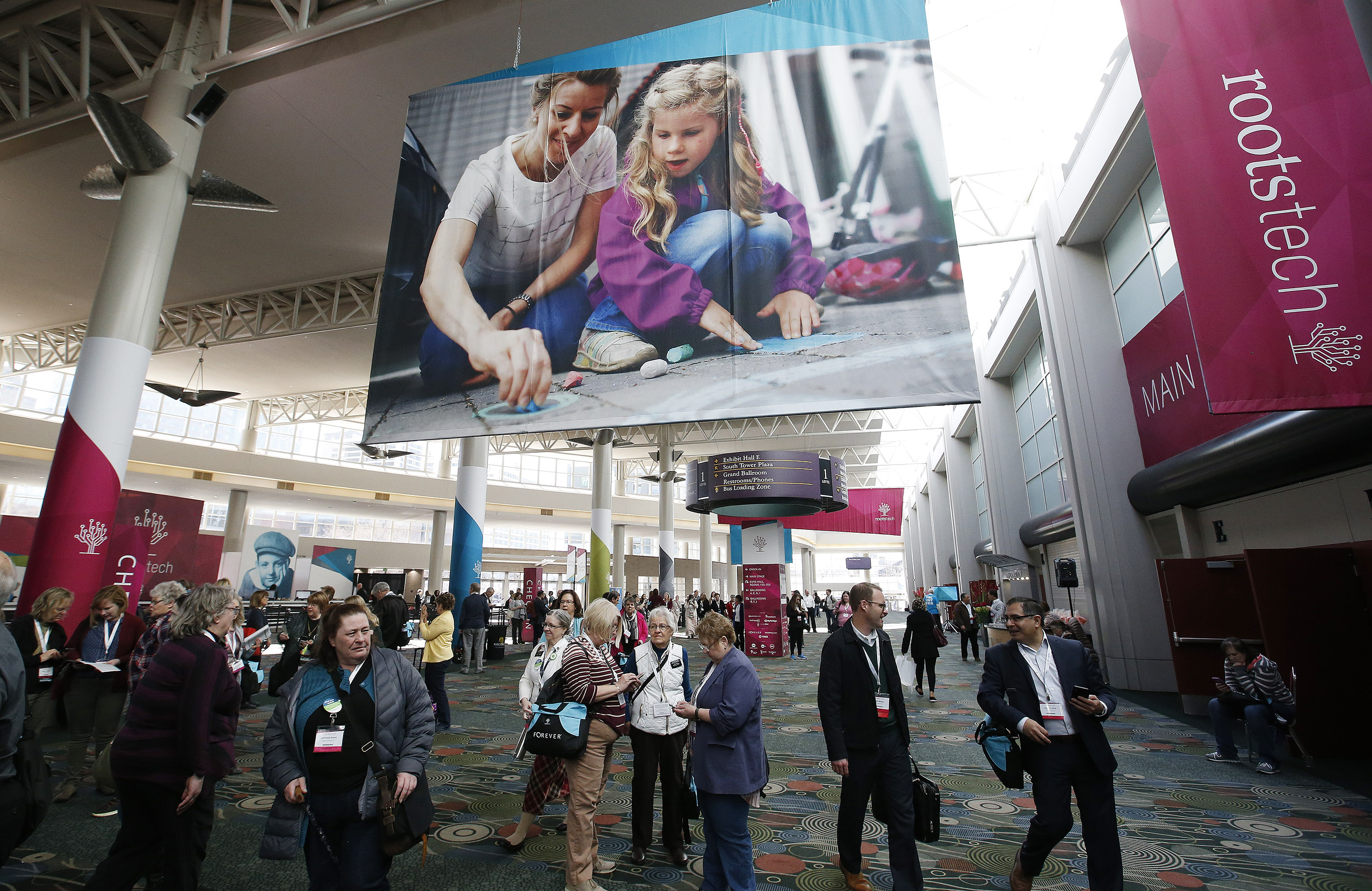 RootsTech attendees walk through the convention in Salt Lake City on Friday, March 2, 2018. This year's RootsTech is scheduled for Feb. 27-March 2 at the Salt Palace Convention Center.