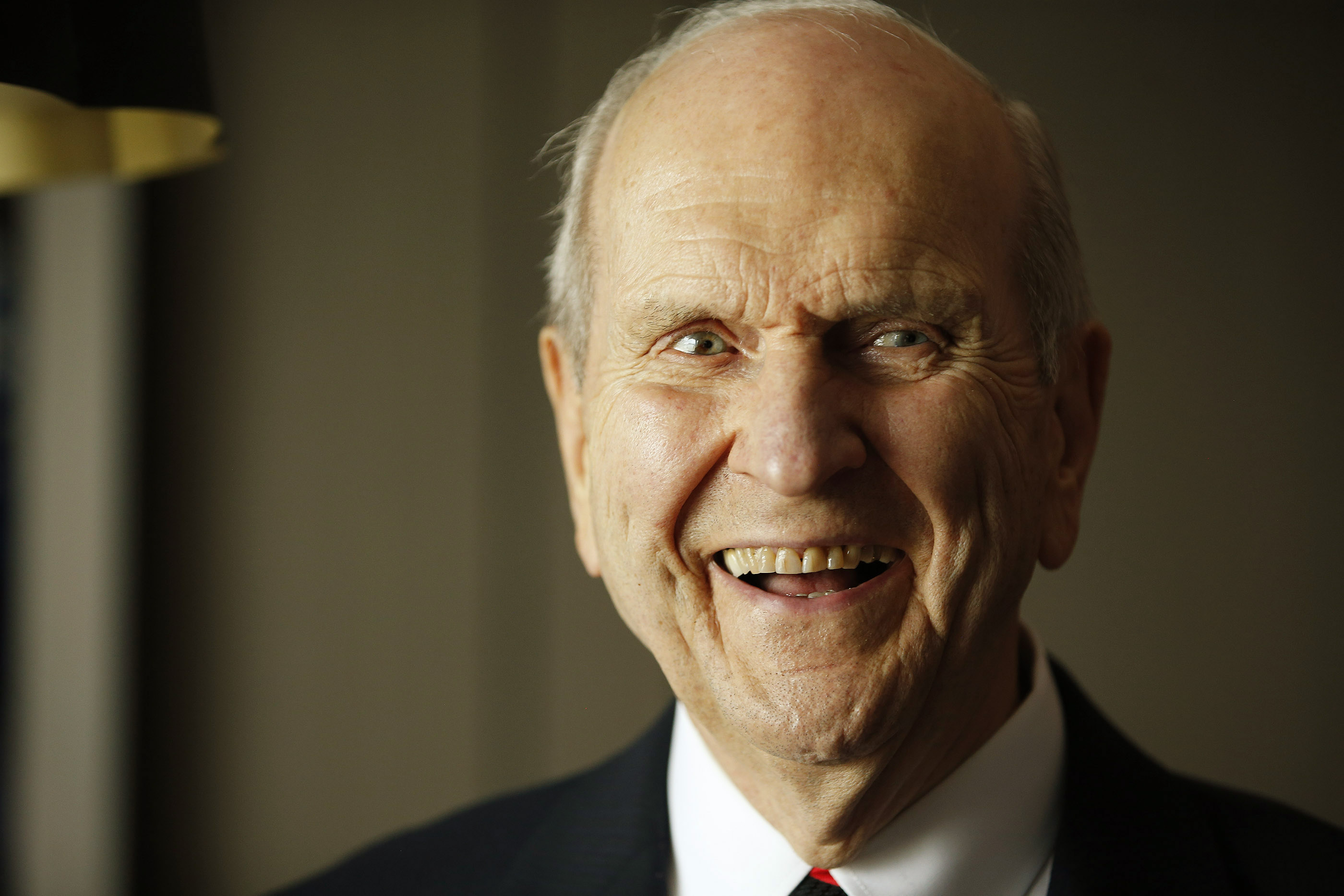President Russell M. Nelson laughs after a press conference in Bengaluru, India, on Thursday, April 19, 2018.