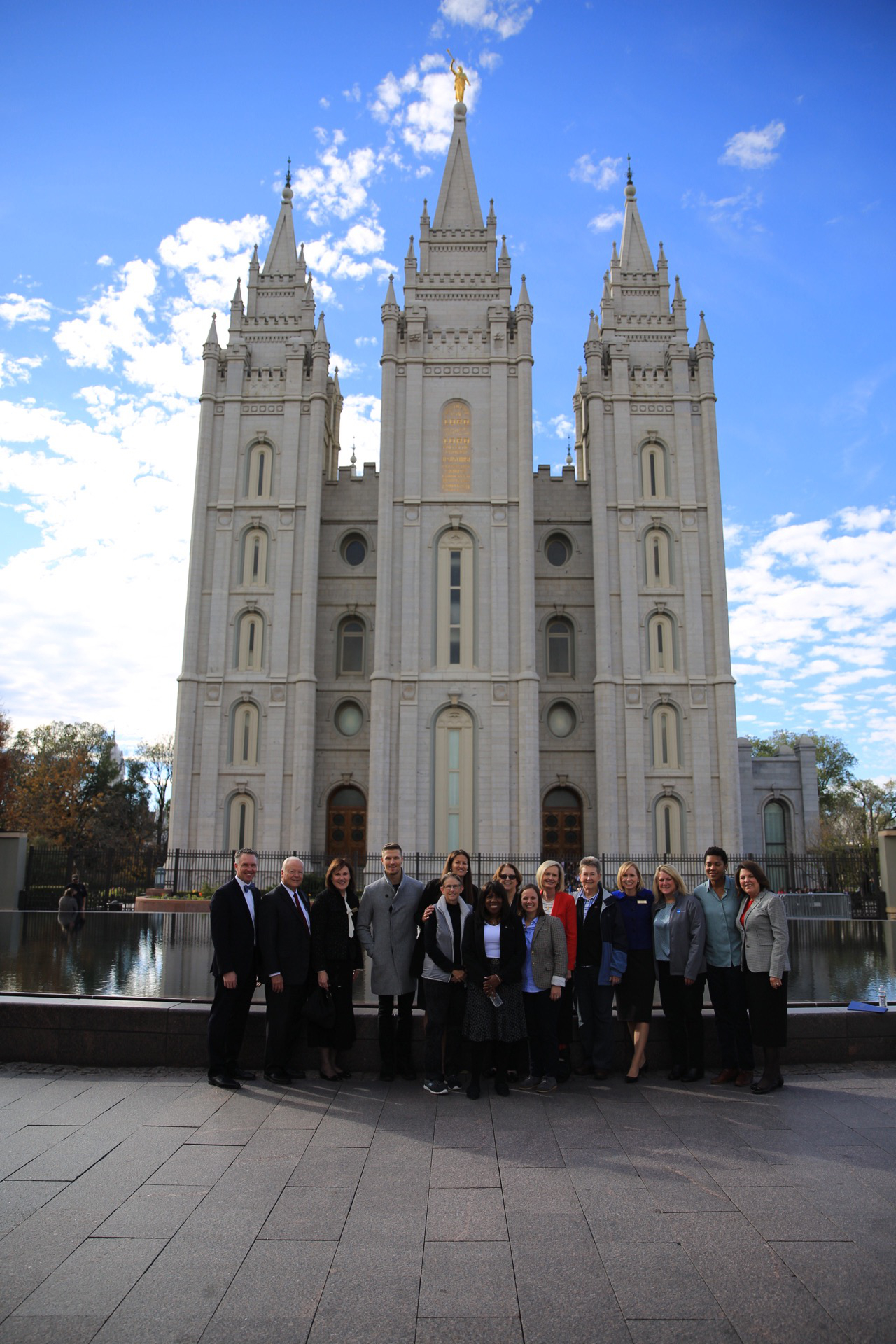 A group photo in front of the Salt Lake Temple with the Common Ground Executive Committee, Nov. 2.