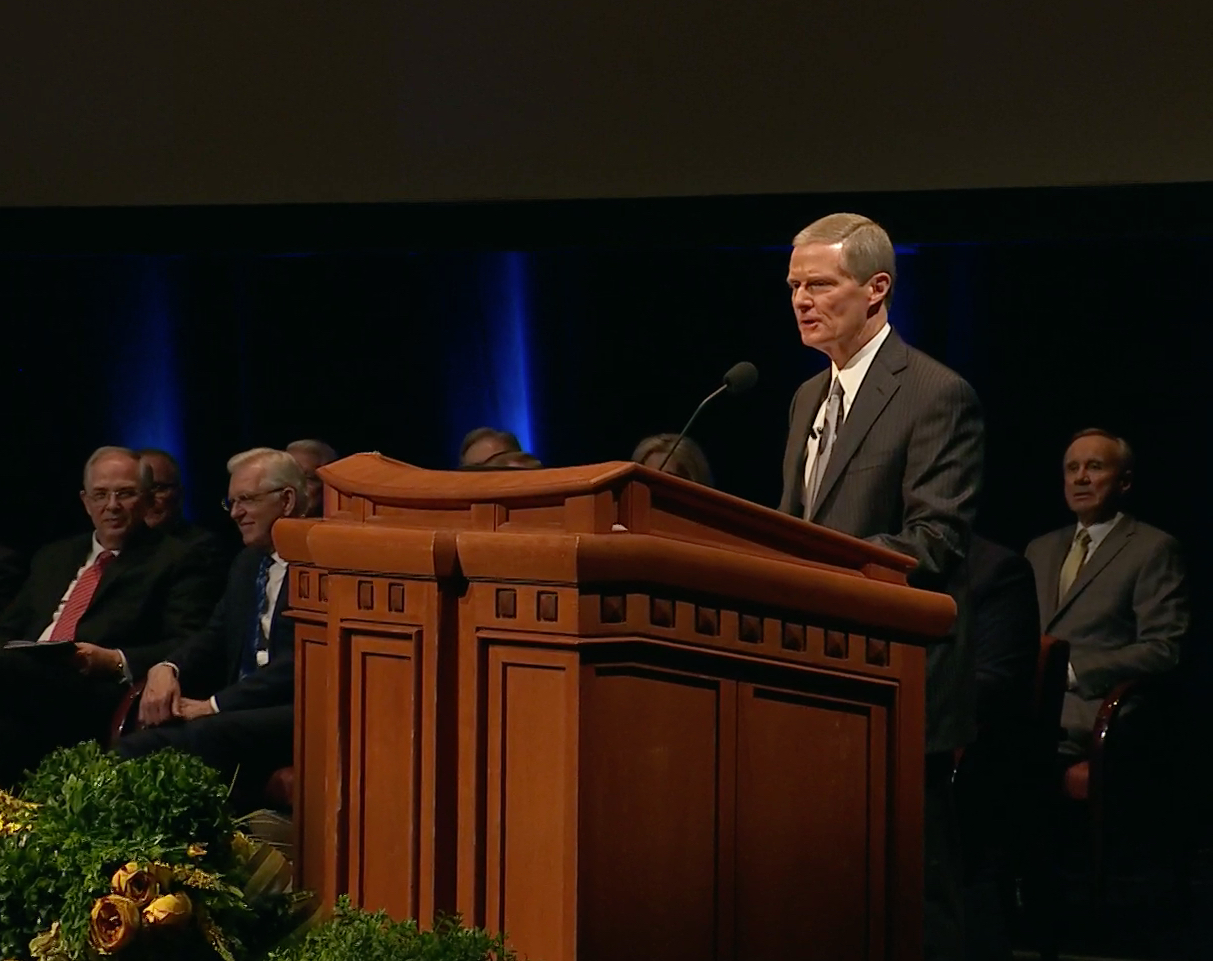In a screenshot from the broadcast on Feb. 28 to ward and stake leaders and members involved in temple and family history work, Elder David A. Bednar of the Quorum of the Twelve Apostles offers remarks.