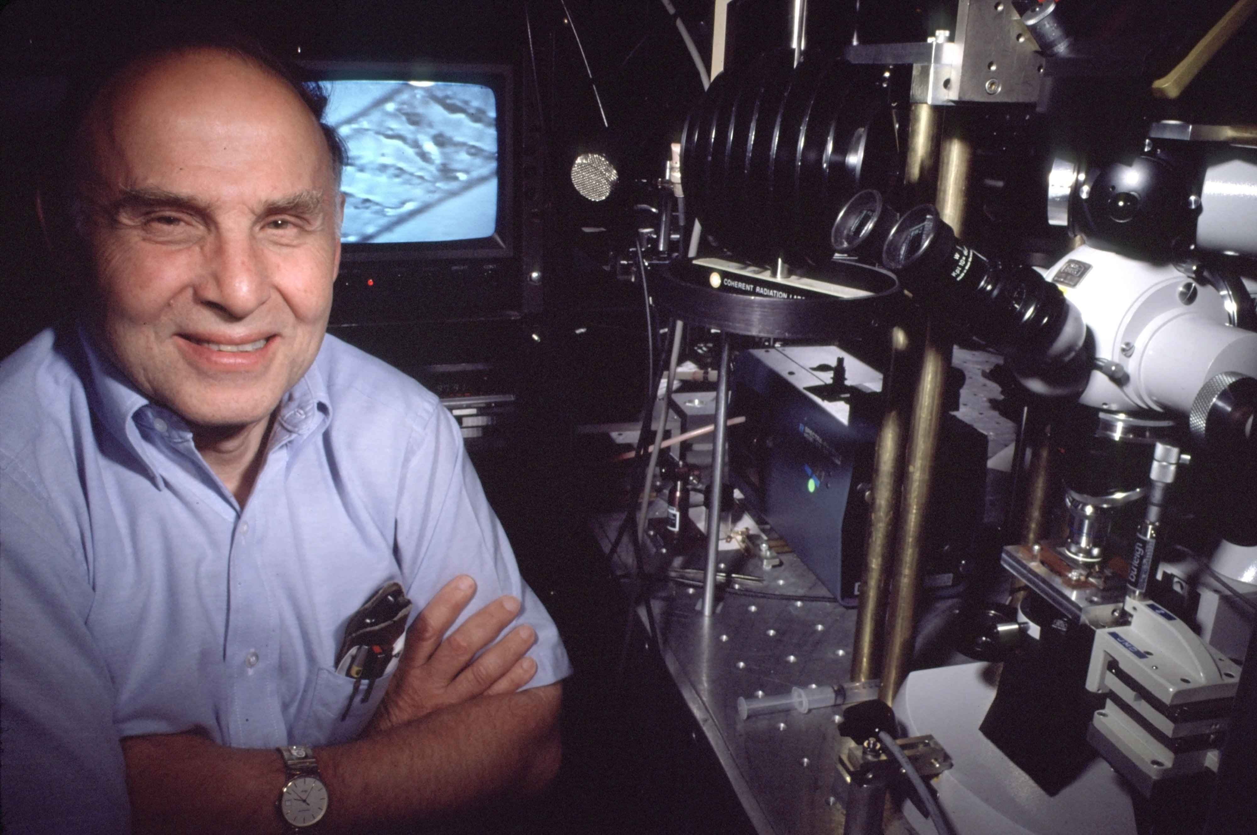 This 1988 photo shows Arthur Ashkin in Holmdel, N.J. At age 96, Ashkin won the 2018 Nobel Prize in Physics with Canadian Donna Strickland and French scientist Gerard Mourou for their work in laser physics.