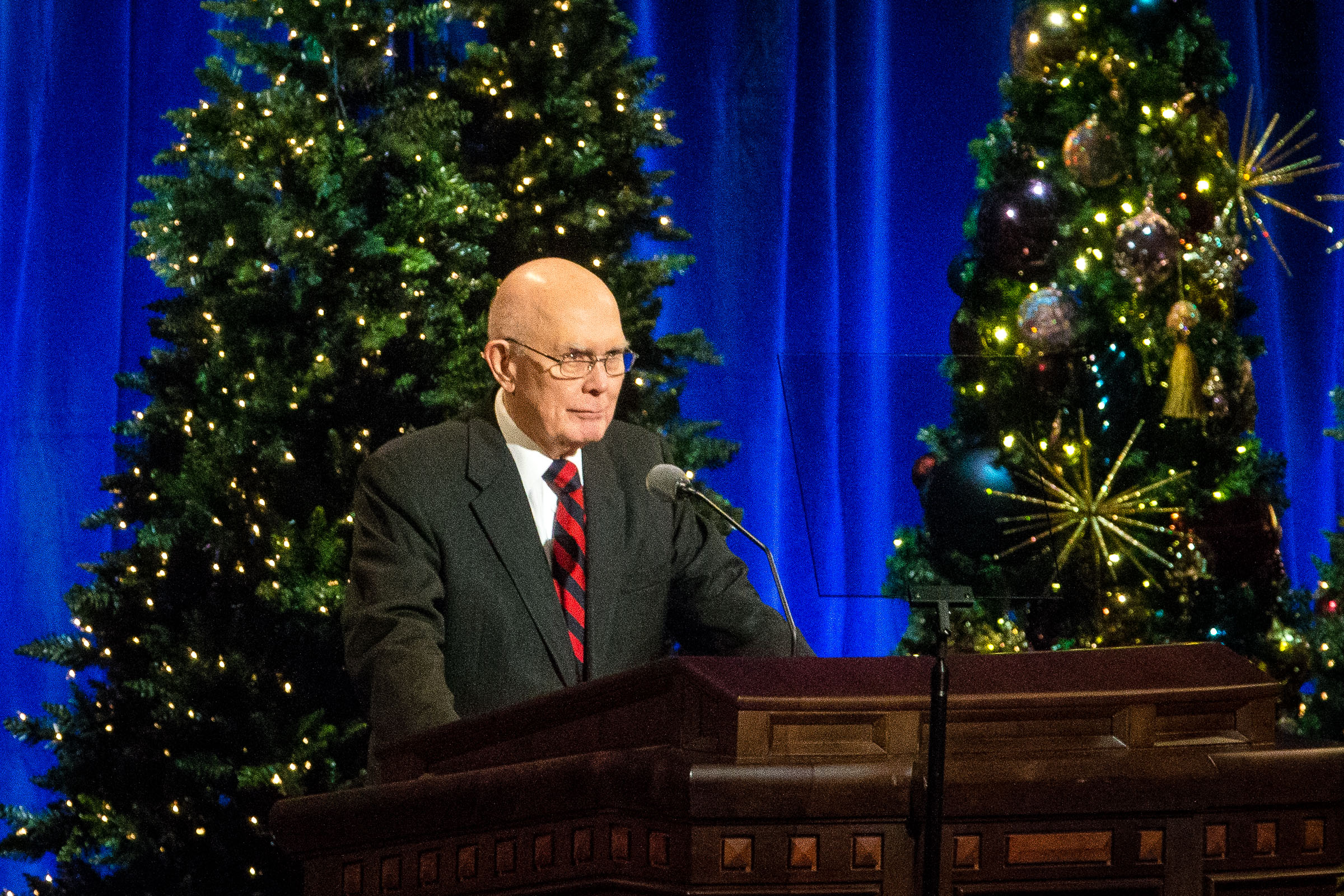 President Dallin H. Oaks, first counselor in the First Presidency, conducts the First Presidency's Christmas Devotional in the Conference Center in Salt Lake City on Sunday, Dec. 2, 2018.