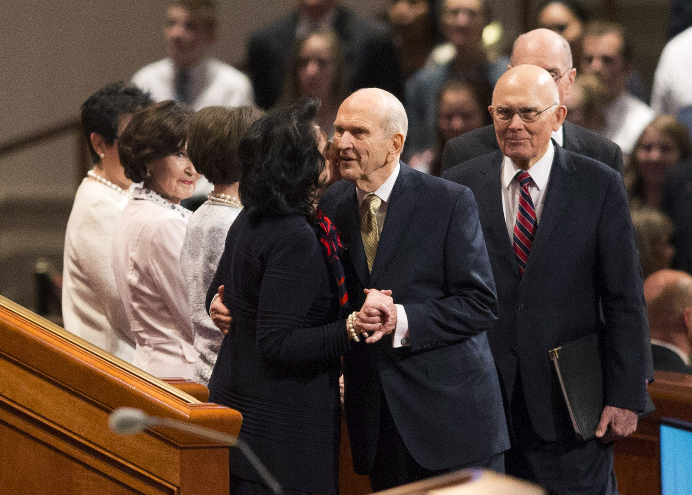 LDS Church President Russell M. Nelson greets his wife, Sister Wendy Watson Nelson, prior to the Sunday afternoon session of the 188th Annual General Conference of The Church of Jesus Christ of Latter-day Saints, in the Conference Center in Salt Lake City on Sunday, April 1, 2018.