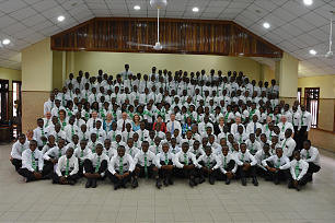 Missionaries gather for a photo in Lagos, Nigeria.