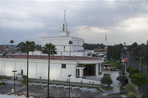 The reopened Mexico City Temple Visitors Center, seen in the foreground, sits in the shadow of the Mexico City Mexico Temple.